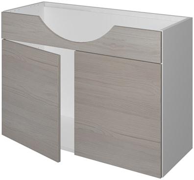 Håndvaskskap 33 cm dypt med 2 dører og utskjæring