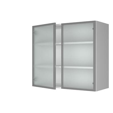 Vitrineskap 70,4 cm høyt med 2 dører og satinert glass