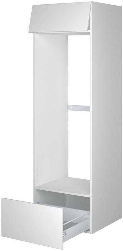 Høyskap 195,2 cm høyt til kjøleskap, åpning: 137,6 x 56,7 cm.
