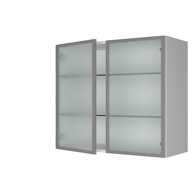 Vitrineskap 70,4 cm høyt med 2 dører, satinert glass og glasshyller